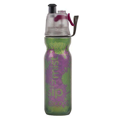 O2Cool Double Wall Mist N Sip Water Bottle Green Purple Splash 20oz