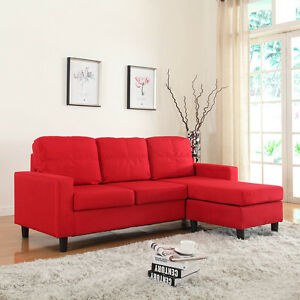 Modern Reversible Red Linen Fabric Small Sectional Sofa