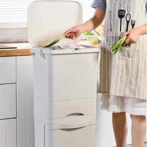 38//42L Large Rubbish Bin Waste Trash Can Pedal Recycling Kitchen Dustbin Wheels