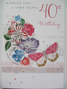 Image Is Loading PRETTY GLITTER COATED FLOWERS Amp BUTTERFLY HAPPY 40TH