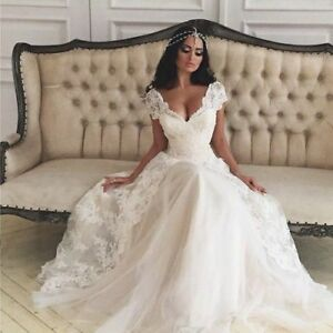 Image Is Loading Cap Sleeves Princess Wedding Dress With Lace Overlay