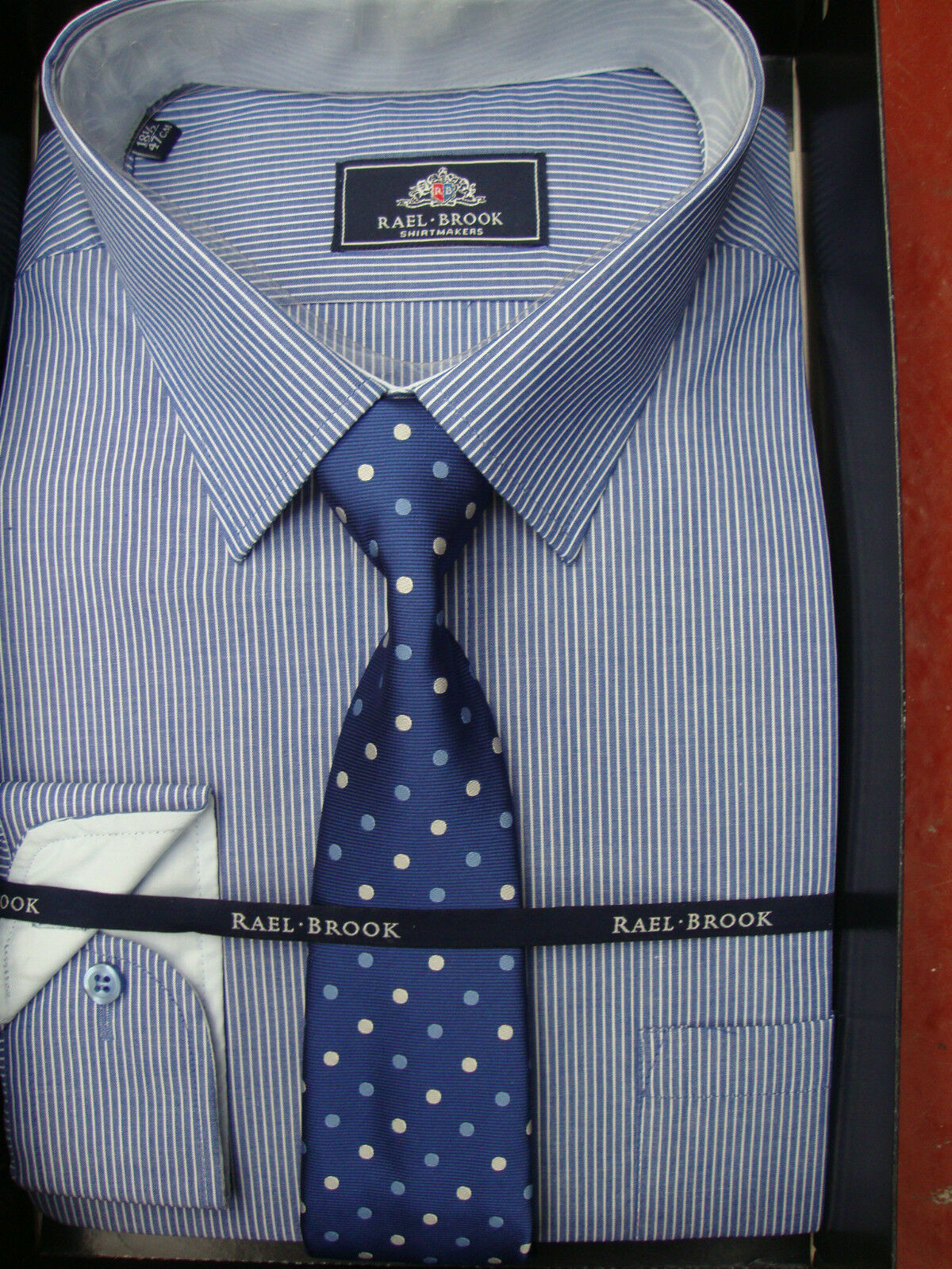 RAEL BROOK blueE STRIPED BOXED SHIRT AND TIE 18