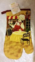 Fat Chef Printed Kitchen Large Oven Mitt, Chef With 2 Coffee Cups