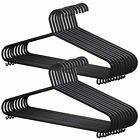 48 X Adult Black Coat Hangers Strong Plastic With Lips for Ladies Clothes Dress