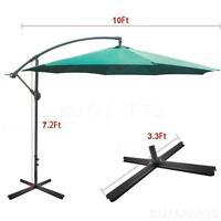 10' Ft Green Offset Sun Shade Hanging Crank Umbrella With Base For Backyard Pool
