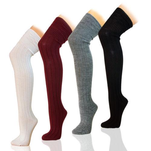 COSTOLA 35-42 Scaldamuscoli con pattern supporto senza calze sopra il ginocchio in 3 colori 7//3