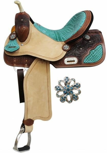 Double T Barrel Style  Saddle with Teal Alligator Print Accents.14  15,16   latest styles