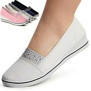 Damenschuhe-Keilabsatz-Ballerina-Slipper-Sneaker-Plateau-Glitzer