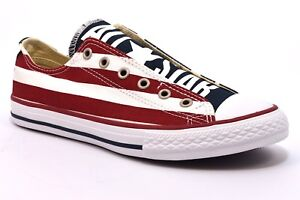 CONVERSE ALL STAR 660992C Slipon Bassa Bianca Blu Rossa Bandiera USA Stelle Jr
