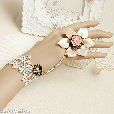 Women Love Big Flower Pink White Lace Adjustable Ring Bracelet SET Lolita Bridal