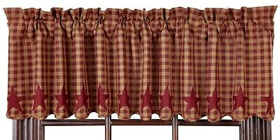 Country Burgundy Star Dark Khaki Tan Check Lined Valance 16x72 Check Size 1/2 in