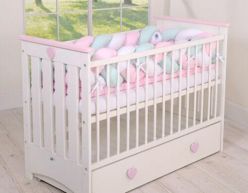 rosa-minze weiss Kopfschutz für Kinderbett XXL Geflochtenes Nestchen