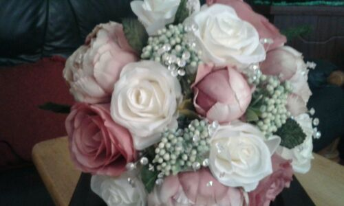 Dusky pink Bridal flowers BRIDES BOUQUET BRIDESMAIDS