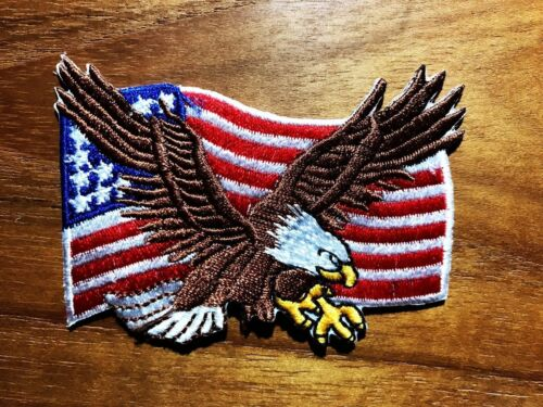 New Eagle American Flag Iron On Patches Embroidered Sew Applique United States
