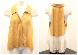 Ezra-Sheer-Chiffon-Lace-Sleeveless-Medium-Collared-Blouse-Shirt-Womens-Chic