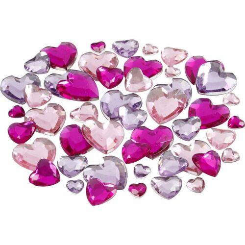 50 Rhinestones Pink Purple Shades Flat Back Heart Shape Scrapbooking Craft