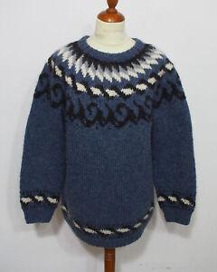 Island Norweger Strick Pullover Grösse L Herren Schurwolle Handarbeit L812