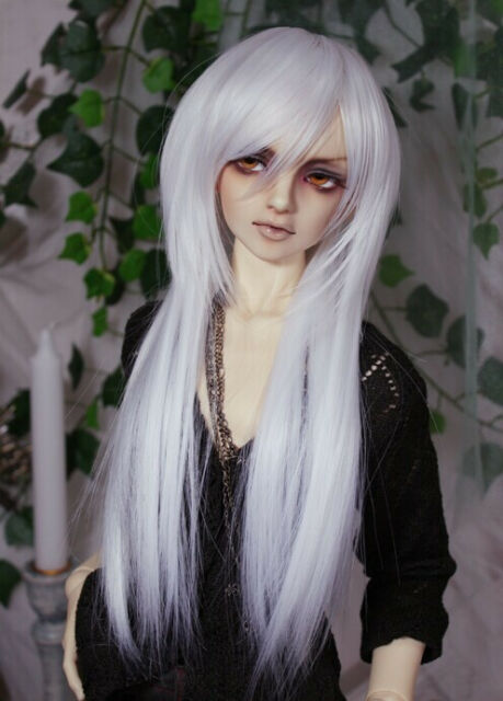"BJD Doll Hair Wig 6-7""1/6 SD DZ DOD LUTS White Long Straight"