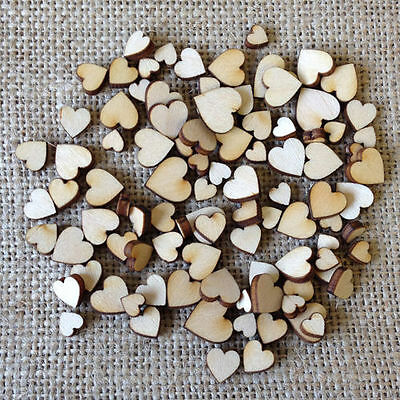 100 x Rustic Wood Wooden Love Heart Wedding Table Scatter Decoration Crafts DIY
