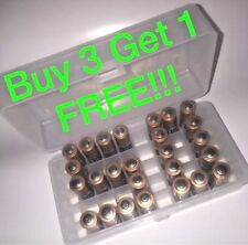 AA Battery Box Plastic Storage BUY 3 GET1 Bin HOLDS 50 BATTERIES (1) CASE CLEAR