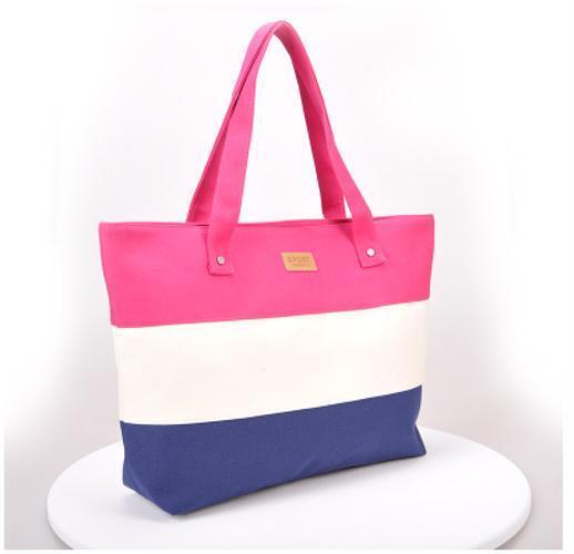 Ladies Stripes Canvas Shoulder Bags Messenger Shopping Beach Handbag Totes Sale