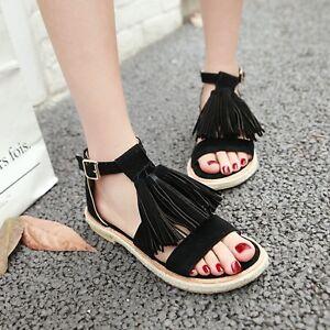 New Boho Womens Summer Open Toe High Wedge Heel Platform Tassel Sandals Shoes SZ