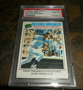"1977 O-PEE-CHEE #261 George Brett ""Record Breakers"" HOF NM MINT PSA 8 CENTERED"