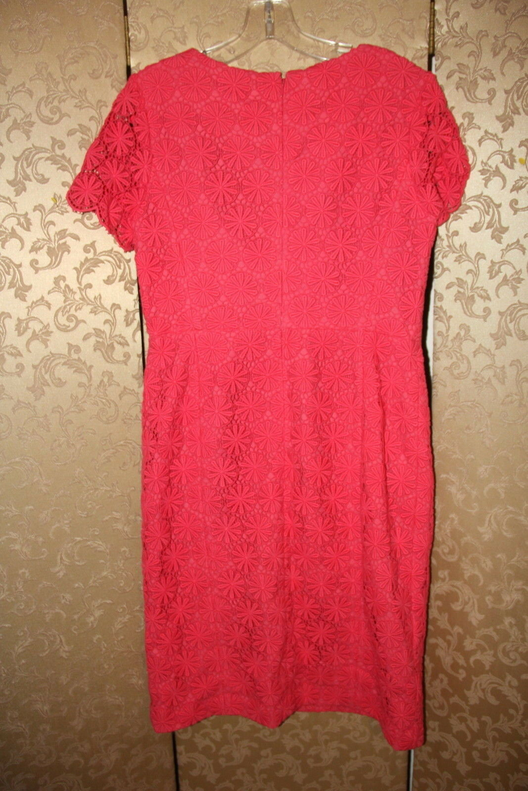 Talbots Nuevo con etiquetas Coral Coral Coral Salmón Rojo Vestido tubo de algodón con ojales de encaje floral 6 983074