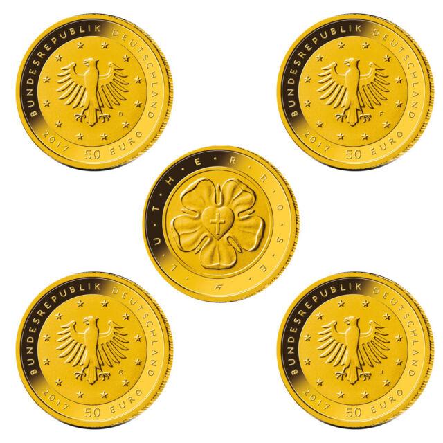 Deutschland 50 Euro Gold Lutherrose Reformation 2017 ST Komplettsatz A-J