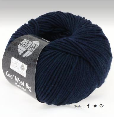 11€//100g Cool Wool Big Melange Lana Grossa Fb 314 Marine meliert 50g