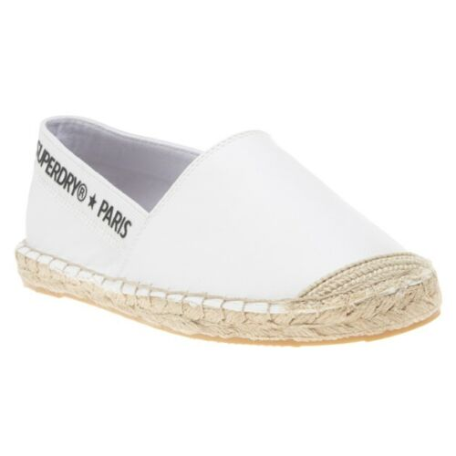 New Womens Superdry White Erin Canvas Shoes Espadrilles Slip On