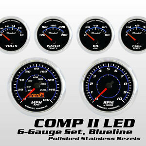 C2-Blueline-6-Gauge-Set-Stainless-Steel-Bezels-0-90-Ohm-Fuel-Cobalt-Blue