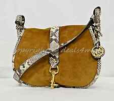 0945d60141c Michael Kors Jamie Large Saddle Bag in Dark Caramel. Suede and Embossed  Leather