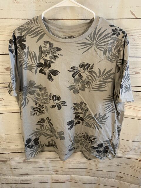 Express Tropical Mens XXL 100% Cotton Gray Short Sleeve Vacation Casual Floral