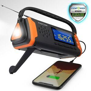 Emergency Solar Hand Crank Weather Radio 4000mAh Power Bank Charger Flash Light