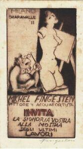 Advertising-Etching-Michel-Fingesten-1884-1943-Monkey-Glasses-Akttorso
