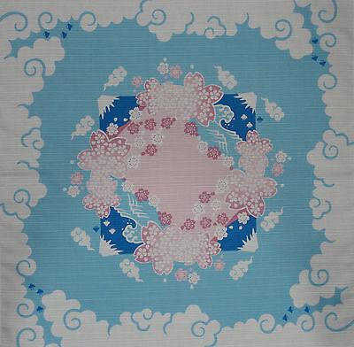Furoshiki Japanese Fabric Cloth ' Mt. Fuji & Cherry Blossom Circle' Cotton 50cm