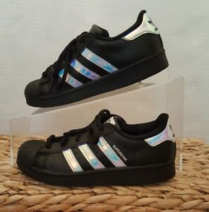 7de868c106e Details about Adidas Superstar J Junior Black Iridescent Hologram CQ0744  Shell Toe Sz 12