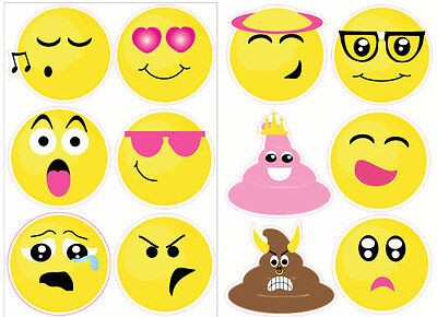 EMOJI wall stickers 12 big decals teen decor phone text faces EMOTICON 6