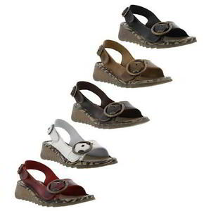 Fly-London-Tram-Womens-Black-Brown-White-Red-Leather-Wedge-Sandals-Size-4-8