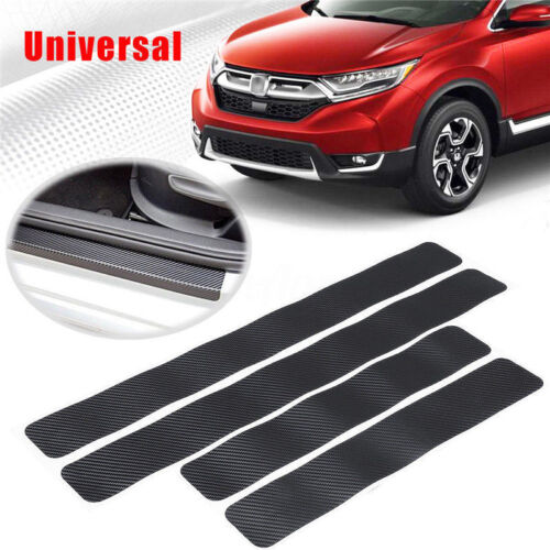 4Pcs 5D Carbon Fiber Style Front+Rear Door Sill Cover Sticker Protector Adhesive