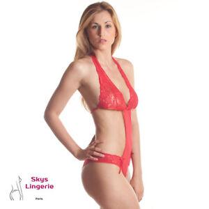 aed317eb09 La imagen se está cargando Ella-body-sexy-Skys-Lenceria-color-rojo-M-o