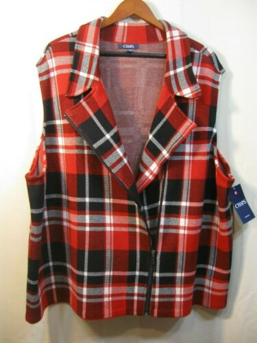 and Black Plaid Pattern Women/'s Zip Front Jacket White NWT Chaps Red Vest