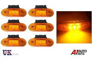 6x-12V-LED-amber-orange-side-marker-lights-indicator-trailer-truck-lorry-van-bus