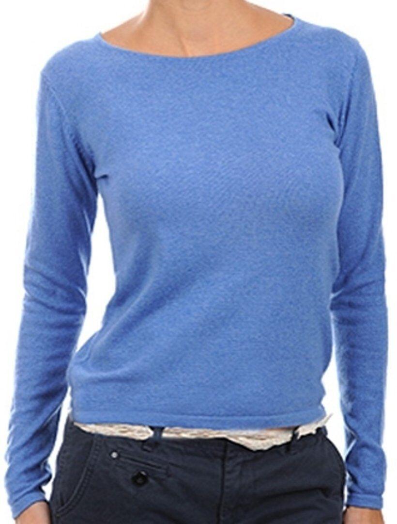 Balldiri 100% Cashmere Damen Pullover Rundhals 2-fädig blau meliert M