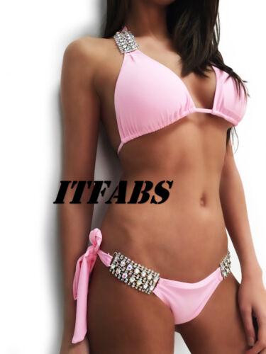 Women Crystal Bandage Bikini Set Push-up Padded Bra  Swimwear Swimsuit Bathing