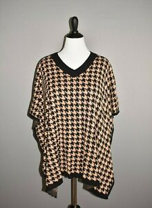 TALBOTS-NEW-80-Black-Tan-Houndstooth-Pullover-Poncho-Sweater-L-XL