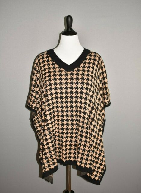 TALBOTS NEW $80 Black Tan Houndstooth Pullover Poncho Sweater L / XL