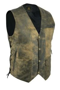 Vintage-Motorcycle-Vest-10-pocket-Distressed-Real-Leather-Waistcoat-Mens