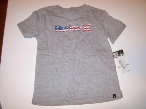 New Hurley short sleeve tee T shirt boys  gray with flag logo 2T